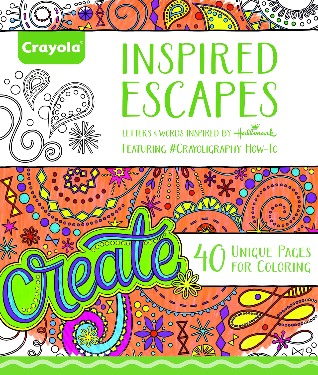 Crayola Inspired Escapes Adult Coloring Book, 40 Pages by Crayola