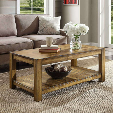 Better Homes & Gardens Bryant Solid Wood Coffee Table, Rustic Maple Brown Finish Monaco Coffee Table Set