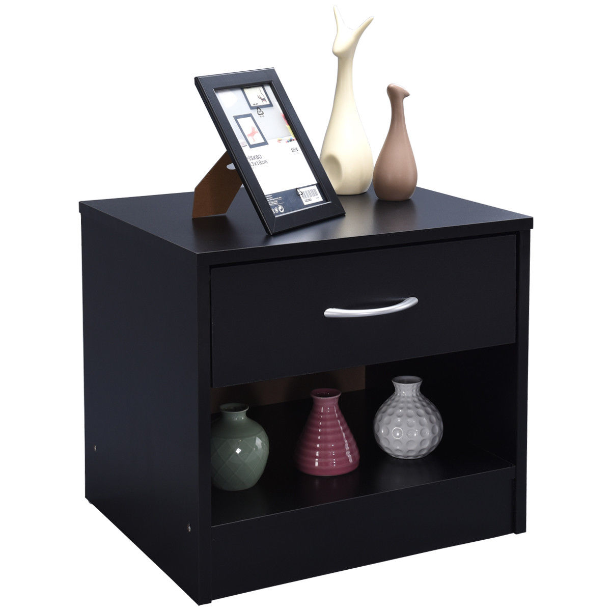 Costway Nightstand End Table Storage Display Bedroom Furniture Drawer Shelf Black