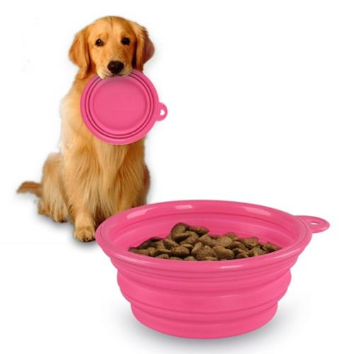 Insten Pink Cute Pet Dog Cat Silicone Portable Collapsible Travel Bowl Dish Feeding Water Feeder