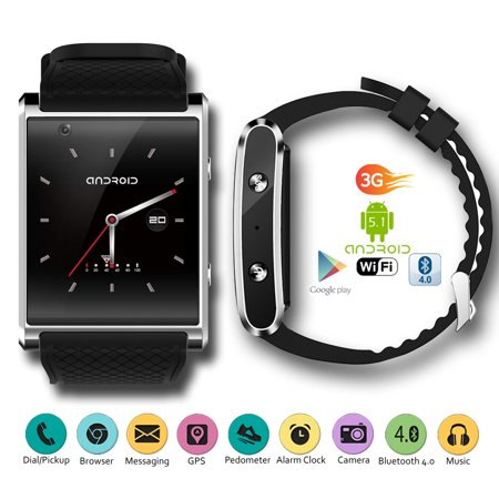 3G GSM Unlocked Android 5.1 SmartWatch by Indigi® - 1.54