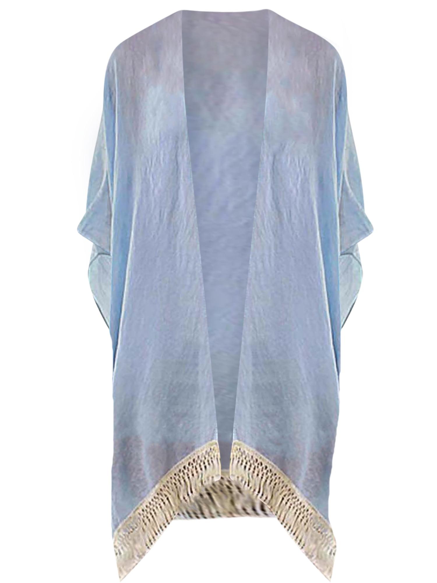 Luxury Divas Aqua Blue Lightweight Sheer Kimono With Crochet Trim Walmart Com Walmart Com