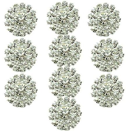 "HABIBEE 10pcs/pack 20mm Gold Sliver Pearl Alloy Button Rhinestone Flower Embellishment DIY Hair Accessories - 2"""