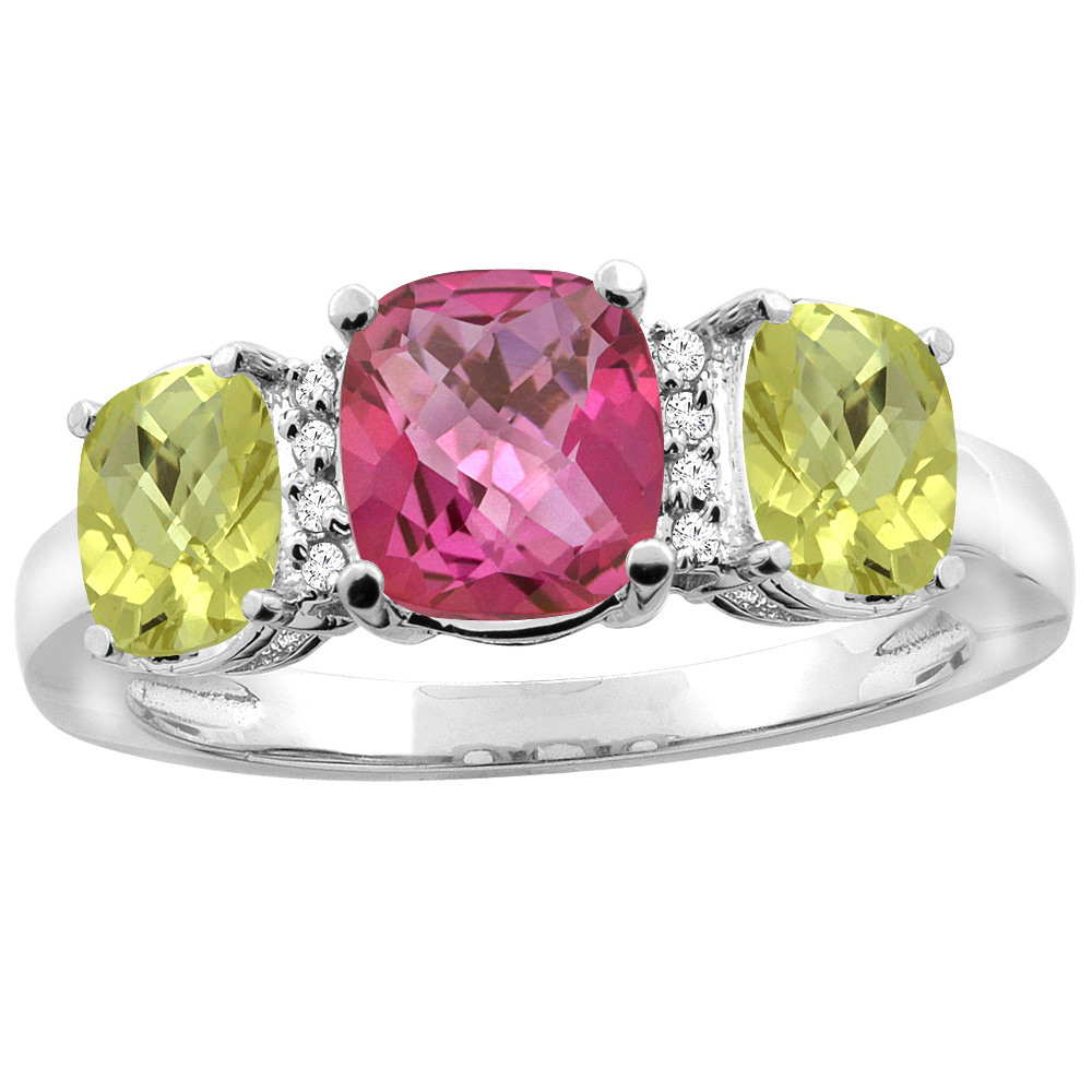 14K White Gold Natural Pink Topaz & Lemon Quartz 3-stone Ring Cushion 8x6mm Diamond Accent, sizes 5 - 10