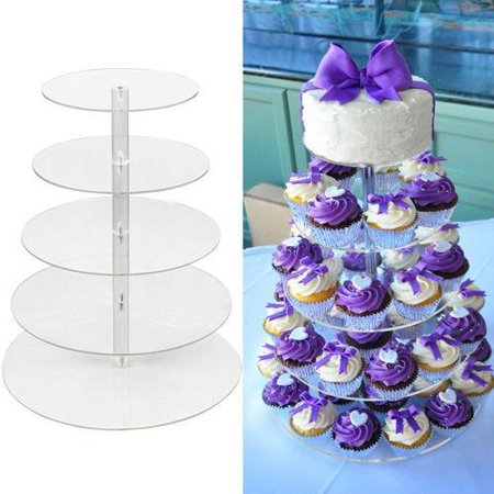 Big Saving!!!Durable 5 Tier Round Adjustable Wedding Acrylic Cupcake Stand Tree Clear Tower Cup Cake Display(Overall Height 16.4inch) PESTE