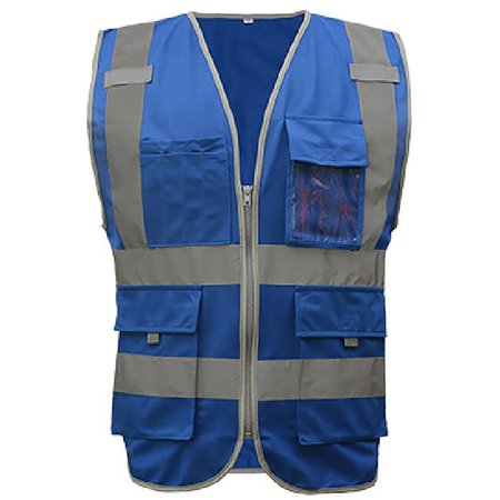 GOGO 9 Pockets High Visibility Zipper Front Safety Vest With Reflective Strips, Meets ANSI Standards-Blue-XXL
