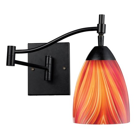 New Product  Celina 1 Light Swingarm Sconce In Dark Rust And Multi Glass 10151/1DR-M Sold by VaasuHomes