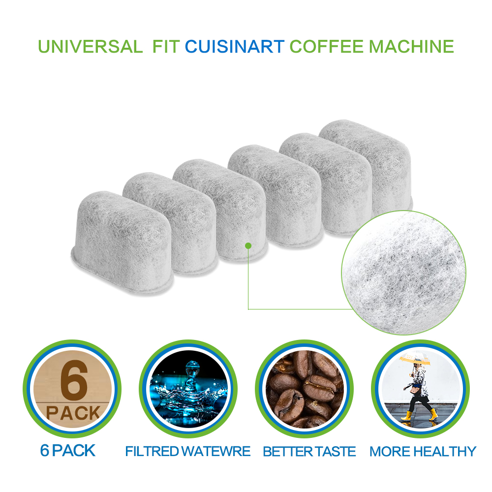 6 Pack Replacement Charcoal Water Filters for Cuisinart Coffee Machines
