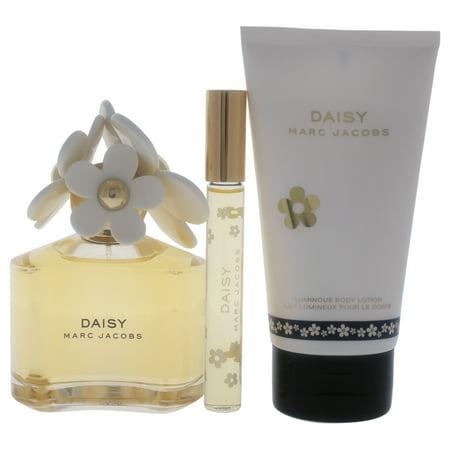 Marc Jacobs Daisy 3.4oz Eau De Toilette Spray, 5.1oz Luminous Body Lotion, 0.33oz Eau De Toilette Rollerball 3 Pc Gift
