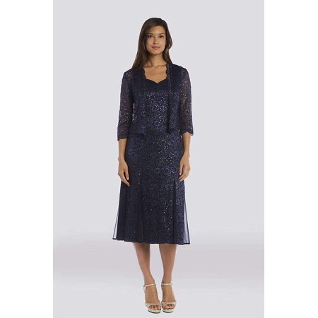 (Plus Size Short Formal Dress with Jacket - Navy - 14W)