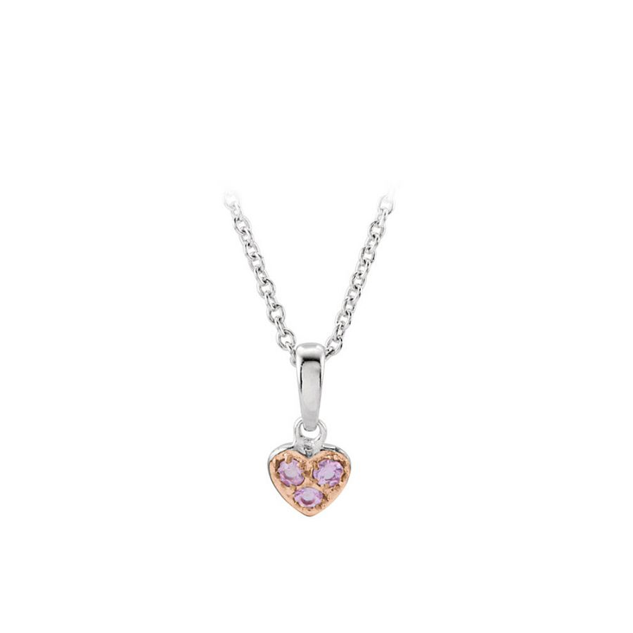 LoveBrightJewelry Silver Pink Sapphire Heart Necklace Disney Collection by Love Bright