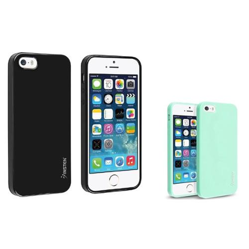 Insten Black+Mint Green Jelly Shiny Hard Case For Apple iPhone 5S 5 5G 5th LTE