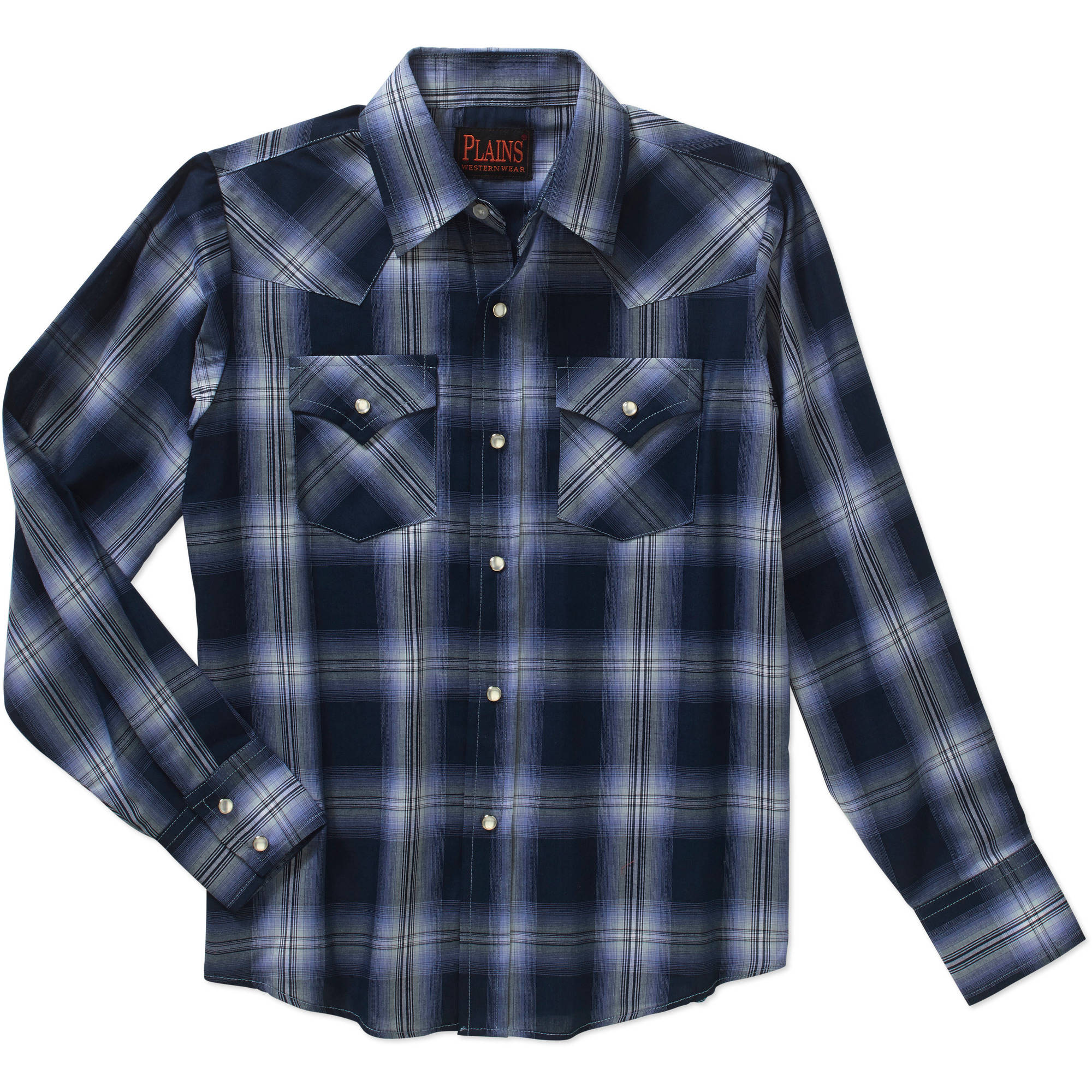 Plains Boys Long Sleeve Western Plaid Shirt