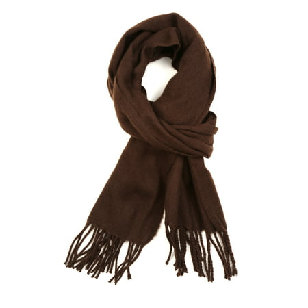 Sakkas Booker Cashmere Feel Solid Colored Unisex Winter Scarf With Fringe - Chocolate - One Size - Solid Red Cashmere