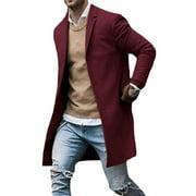 Mens Wool Coat Winter Trench Coat Outwear Overcoat Long Sleeve Jacket