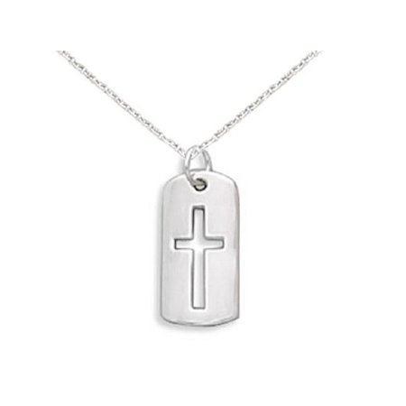 Cut Out Cross - Children's Cross Necklace with Cut Out Tag Sterling Silver, Includes Chain