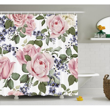 Rose Shower Curtain Flourishing Pink Roses With Tender Spring Summer Soulful Blossoms Bridal Fabric
