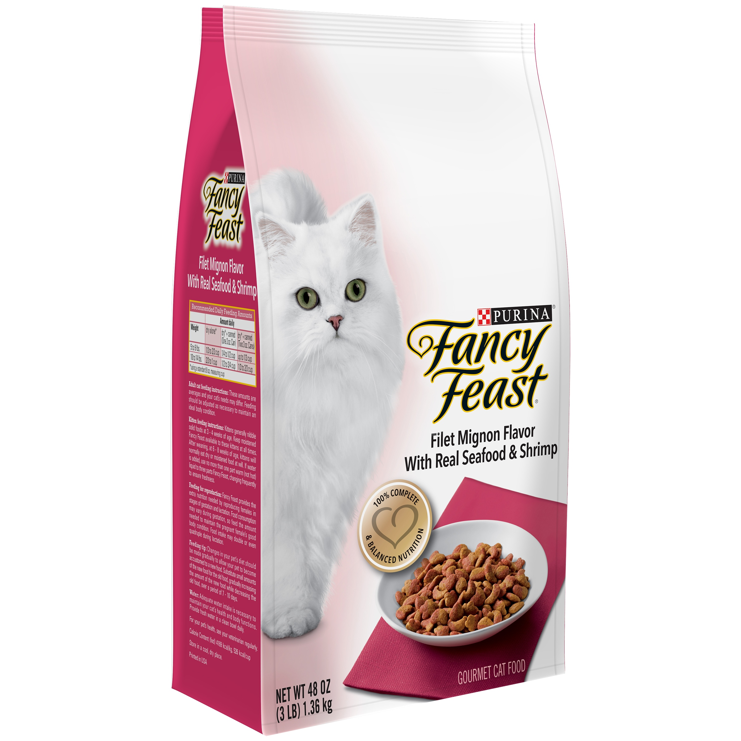 Purina Fancy Feast Gourmet Dry Cat Food Filet Mignon Flavor With Real Seafood & Shrimp 3 lb. Bag