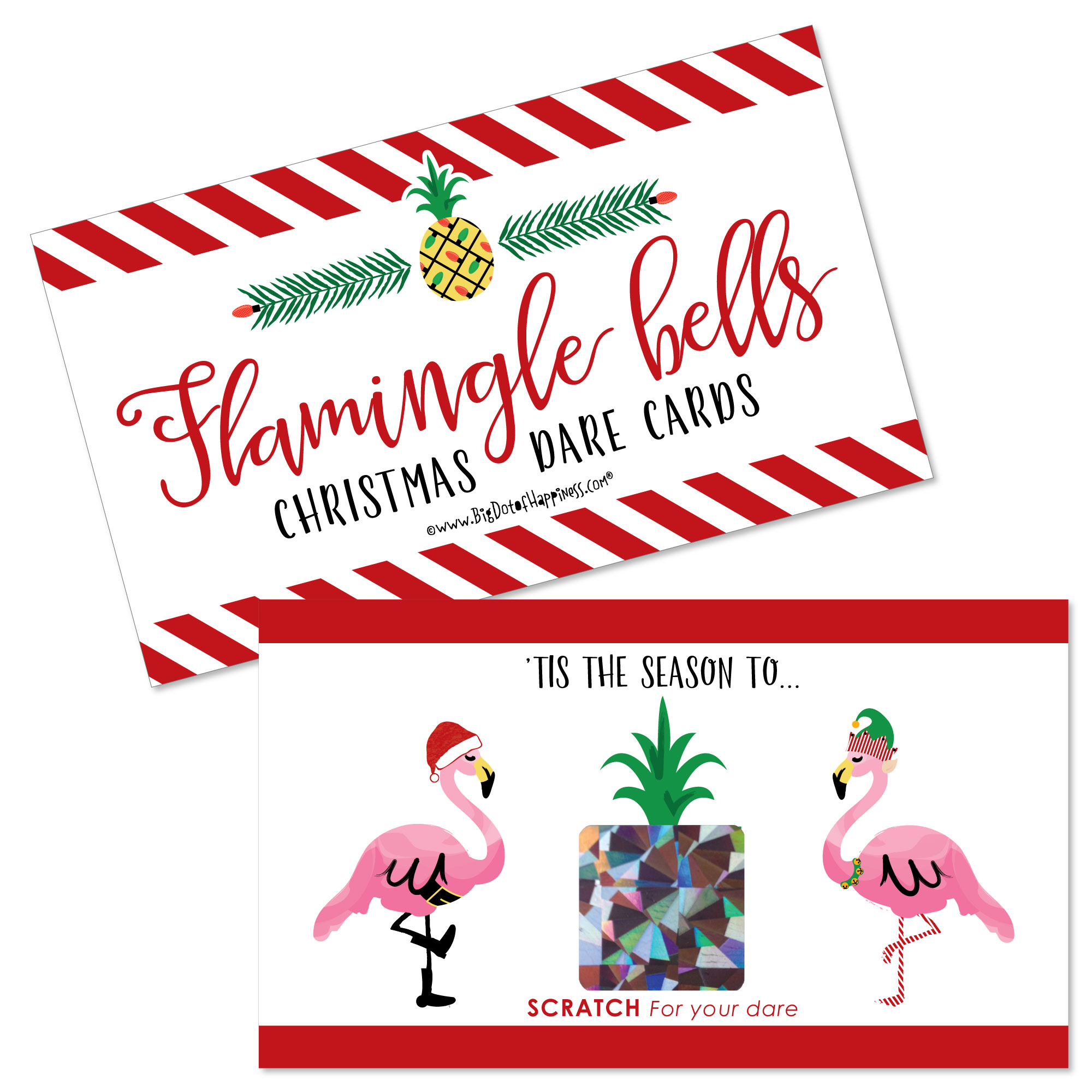 Flamingle Bells - Tropical Flamingo Christmas Party Scratch Off Dare Cards - 22 Count