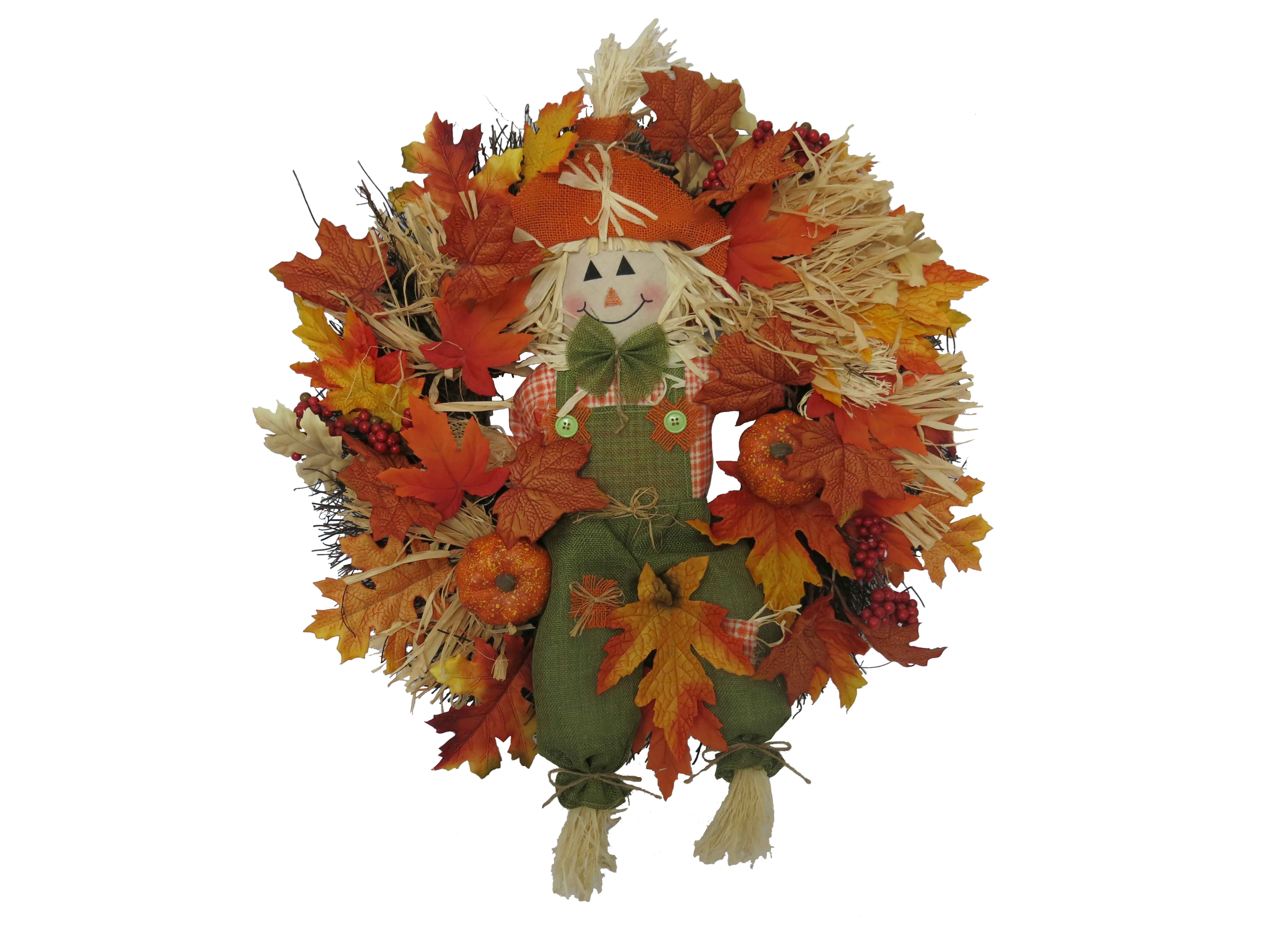 Harvest Wreath w/ Smiling Scarecrow (Way to Celebrate)
