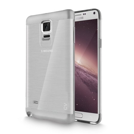 - Galaxy Note 4 Case, Cellularvilla [Slim Fit] [Dual Layer] Metallic Finish Bumper [Shockproof] [Brushed Texture] Transparent Clear Back Case Cover for Samsung Galaxy Note 4 SM-N910S N910C