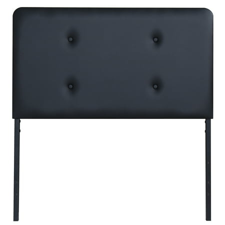 GranRest Upholstered Faux Leather Headboard Steel Black, Twin size