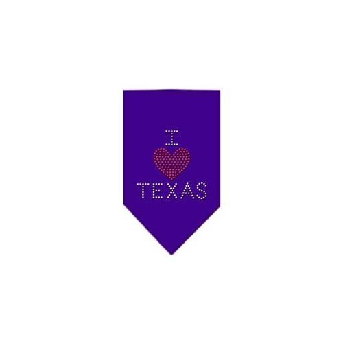 Image of I Heart Texas Rhinestone Bandana Purple Small