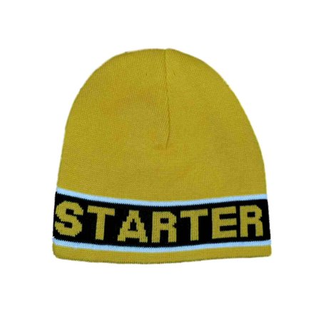 e7955968333ab Starter - Men s Yellow With Black Stripe Winter Beanie Stocking Cap Hat -  Walmart.com