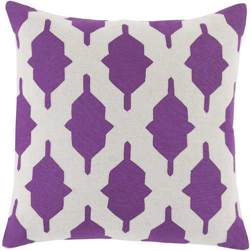 "Surya Salma Down Fill 18"" Square Pillow in Purple"