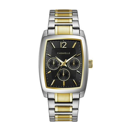 Caravelle Men's Barrel Chronograph Two-Tone Gold Stainless Steel Bracelet Dress Watch