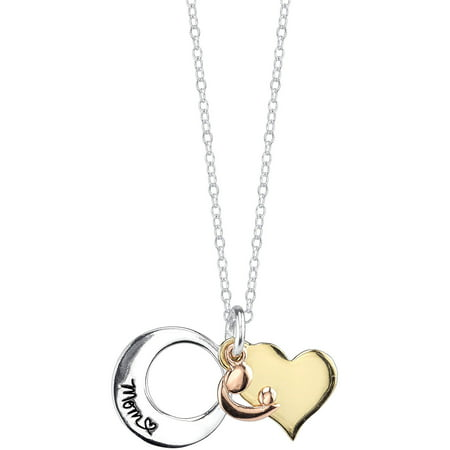 tri toned tone with diamond necklace and gold graduation pendant two
