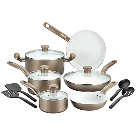 T-fal C728SE Initiatives Nonstick Ceramic Coating PTFE PFOA and Cadmium Free Scratch Resistant Dishwasher Safe Oven Safe Cookware Set, 14-Piece, (Best Non Stick Cookware In The World)