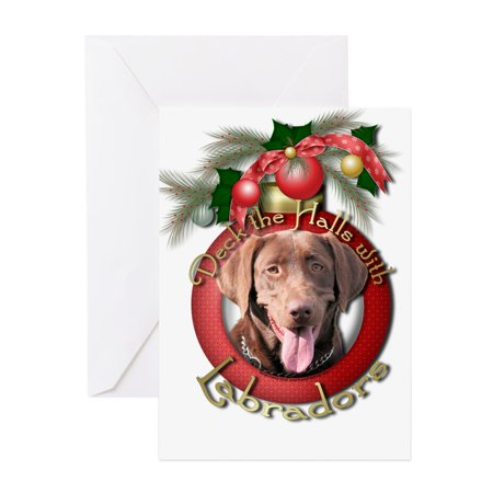 CafePress - Christmas Deck The Halls Labradors Greeting Ca - Greeting Card, Blank Inside Glossy ()