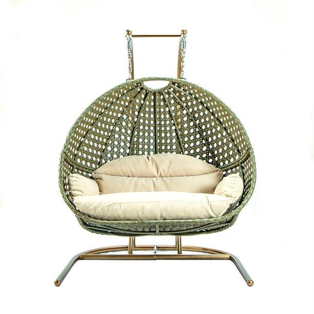 Leisuremod Modern Beige Wicker Hanging Double Egg Swing Chair Walmart Com Walmart Com