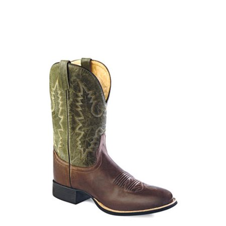 Old West Green Mens Leather 11in Vintage Shaft Cowboy Western Boots 8 EE