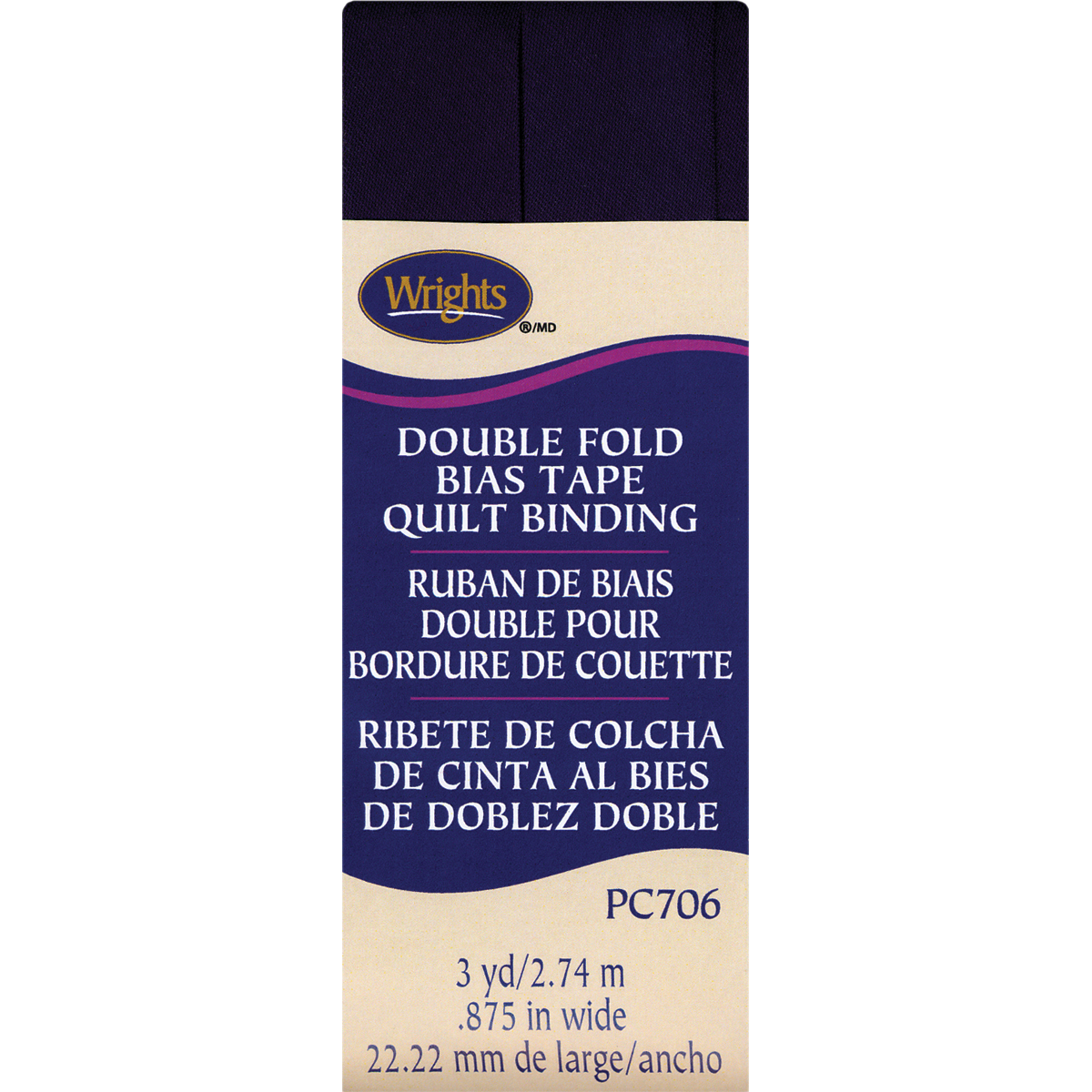 Wrights Double Fold Quilt Binding, 7/8 by 3-Yard, Blackberry Multi-Colored