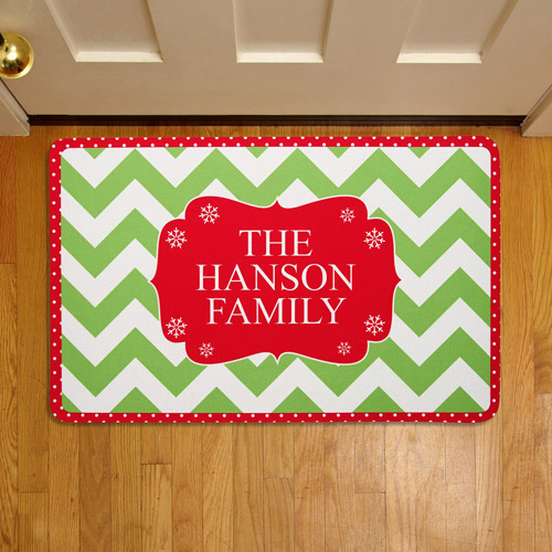 "Personalized Holiday Welcome 17"" x 27"" Doormat"