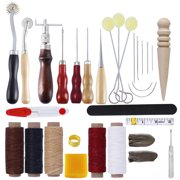 31pcs Professional DIY Handicraft Tool Kit DIY Sewing Tools Leather Stitching Stamping Carving Saddle Leather Craft Hand Tools Waxed Line Awl Thimble