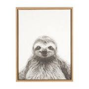 Kate and Laurel Sylvie Sloth Black and White Portrait Framed Canvas Wall Art by Simon Te Tai, 18x24 Natural