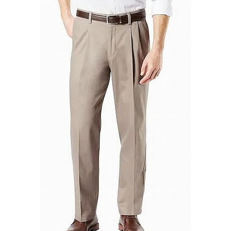 Mens Pants 33x30 Pleat Khakis Relaxed Fit Stretch 33 Pleats Relaxed Fit Khakis
