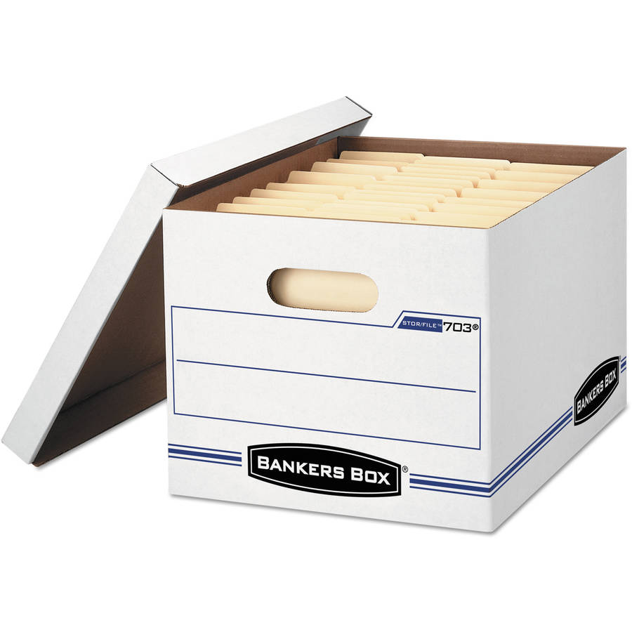 Bankers Box Stor/File Storage Box, Letter/Legal, Lift-Off Lid, White, 6/Pack