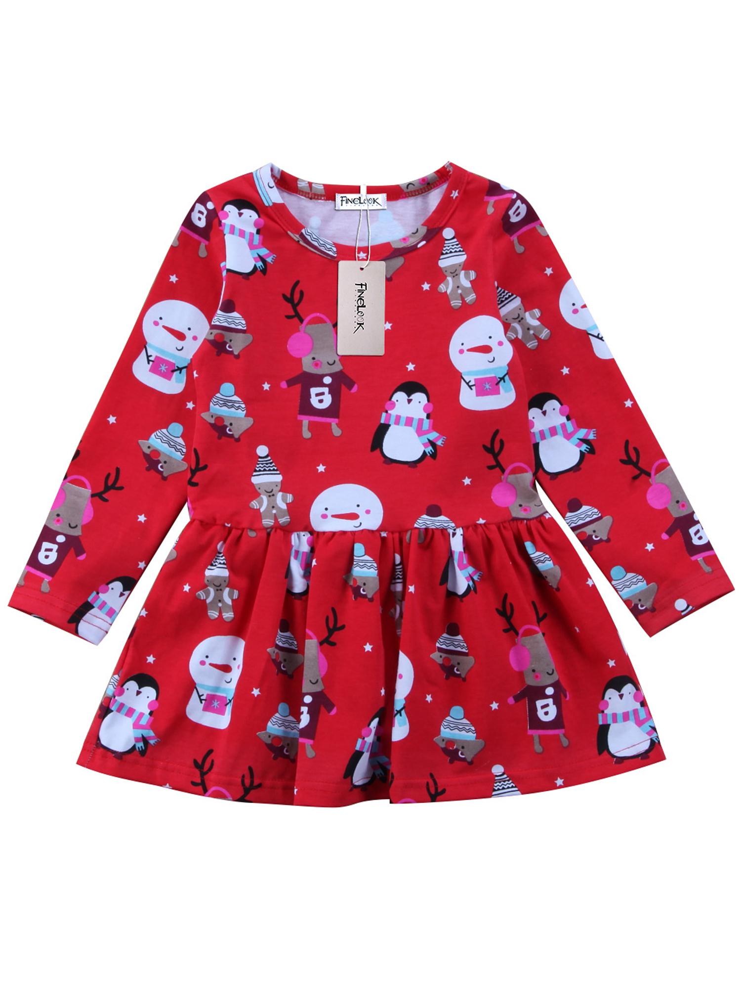 Girls Christmas XMAS Cartoon Snowman Dresses Baby Kids Girls Tops Casual Dresses