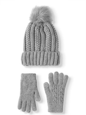 Time and Tru Women's Pom Beanie and Gloves Gift Set