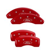 MGP 4 Caliper Covers Engraved Front & Rear Oval logo/Ford Red finish silver ch