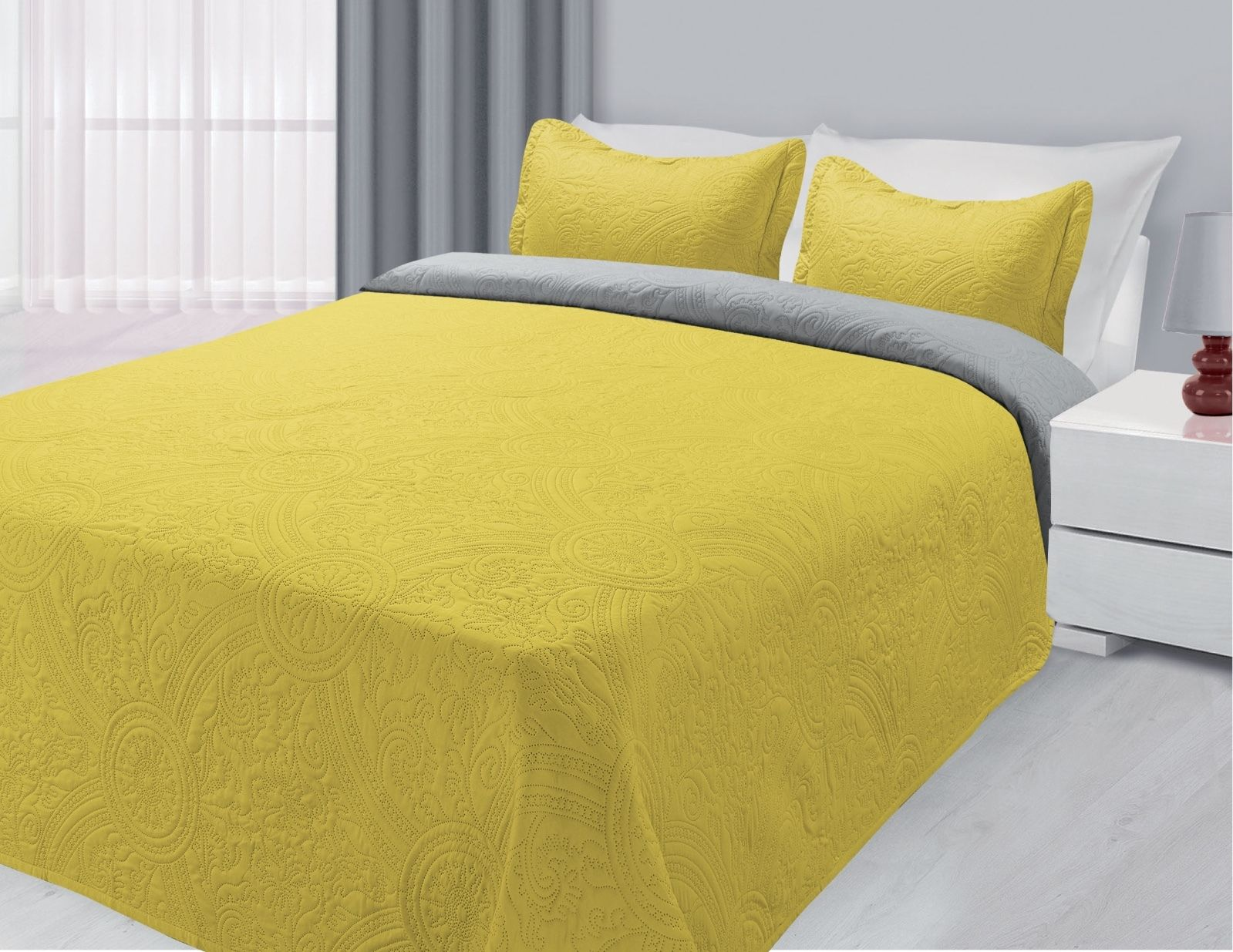 3-Piece Reversible Quilted Bedspread Coverlet Yellow & Gray King Size by