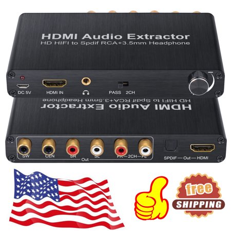 4K DAC HDMI Audio Extractor Splitter DAC Digital to 5.1CH Analog Stereo Audio Converter for Blu-ray DVD Player Xbox One SKY HD Box PS3