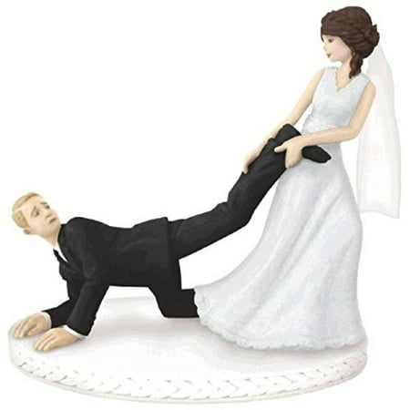 Amscan Comical Leg-Puller Wedding Cake Topper Party Supply, 1 Pieces, Made from Plastic, Elegant Wedding, 4
