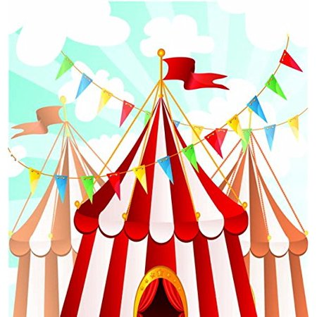 Baby Shower Circus Theme (HelloDecor Polyster 5x7ft red and white circus striped theme backdrop party baby shower happy Birthday photography studio)