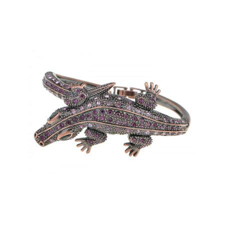 Feinuhan Copper Tone Amethyst Colored Rhinestones Alligator Crocodile Bangle Bracelet