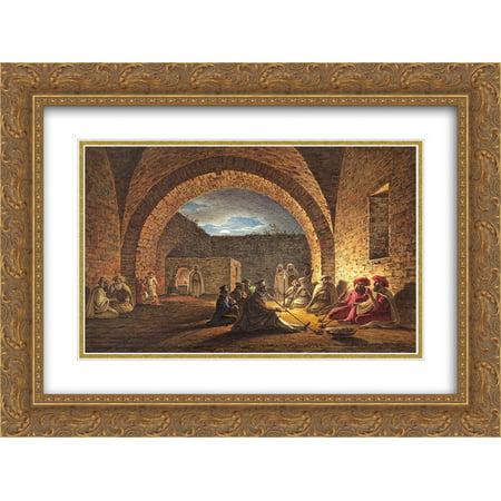 Maxim Vorobiev 2x Matted 24x20 Gold Ornate Framed Art Print 'Visiting Two Arabian Sheikhs' (Sheik Arabia)